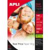 APLI Fotópapír, tintasugaras, A4, 140 g, fényes, APLI