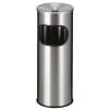 VEPA BINS Tűzálló szemetes, rozsdamentes acél, hamutartóval kombinált, VEPA BINS, ezüst