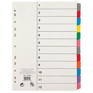 VIQUEL Regiszter, laminált karton, A4, 12 részes, VIQUEL