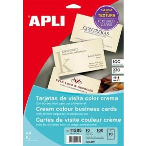 APLI Névjegykártya, 89x51 mm, 250 g, előre vágott, texturizált, APLI, krémszínű