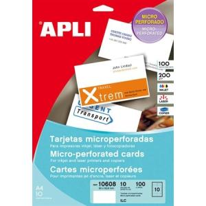 APLI Névjegykártya, 90x50,8 mm, 200 g, mikroperforált, APLI
