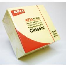 APLI Öntapadó jegyzettömb, 75x75 mm, 400 lap, APLI, sárga jegyzettömb