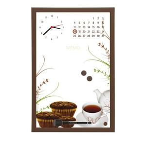 Üzenőtábla órával és naptárral, 30x45 cm, barna keret