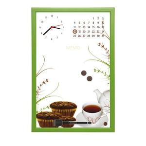 Üzenőtábla órával és naptárral, 30x45 cm, zöld keret
