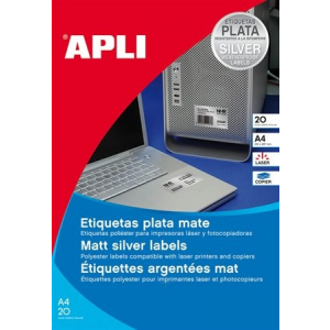 APLI Etikett, 210x297 mm, poliészter, időjárásálló, APLI, ezüst, 20 etikett/csomag