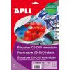 APLI Etikett, CD/DVD, A4, teljes lefedettségű, matt, eltávolítható, APLI
