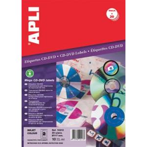 """APLI Etikett, CD/DVD, A4, teljes lefedettségű, átlátszó, APLI """"Mega"""""""
