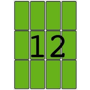 APLI Etikett, 34x67 mm, színes, A5 hordozón, APLI, zöld, 96 etikett/csomag