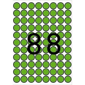 APLI Etikett, 16 mm kör, színes, A5 hordozón, APLI, zöld, 704 etikett/csomag