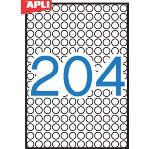 APLI Etikett, 10 mm kör, A5 hordozón, APLI, 3060 etikett/csomag