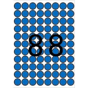 APLI Etikett, 16 mm kör, színes, A5 hordozón, APLI, kék, 704 etikett/csomag