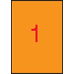 APLI Etikett, 210x297 mm, színes, APLI, neon narancs, 20 etikett/csomag