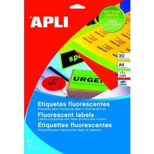 APLI Etikett, 210x297 mm, színes, APLI, neon sárga, 20 etikett/csomag