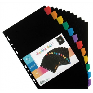 VIQUEL Regiszter, műanyag, A4 Maxi, 12 részes, VIQUEL , fekete