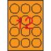 APLI Etikett, 60 mm kör, színes, APLI, neon narancs, 240 etikett/csomag
