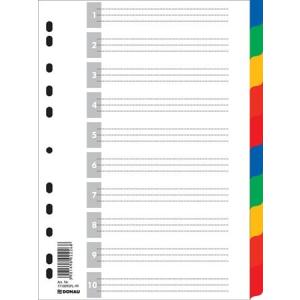 DONAU Regiszter, műanyag, A4, 10 részes, DONAU, színes