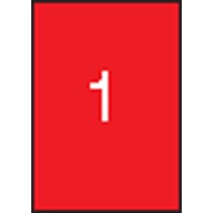 APLI Etikett, 210x297 mm, színes, APLI, neon piros, 100 etikett/csomag
