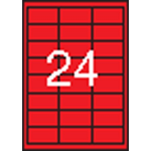 APLI Etikett, 70x37 mm, színes, APLI, piros, 2400 etikett/csomag