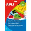 APLI Etikett, 60 mm kör, színes, APLI, neon sárga, 240 etikett/csomag