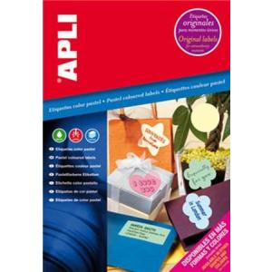 APLI Etikett, 70x37 mm, színes, APLI, pasztell kék, 480 etikett/csomag