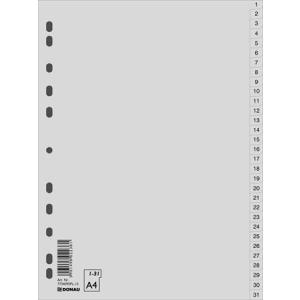 Biella Regiszter, műanyag, A4, 1-31, BIELLA, szürke