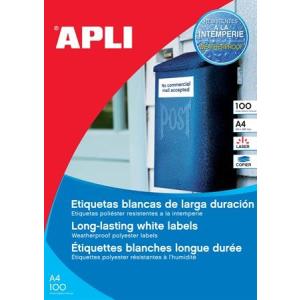 APLI Etikett, 210x297 mm, poliészter, időjárásálló, kerekített sarkú, APLI, 100 etikett/csomag