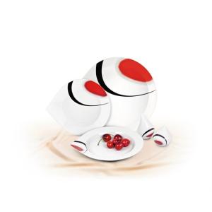 ROTBERG Lapostányér, porcelán, 29 cm átmérőjű, ROTBERG, fehér, piros-fekete mintával