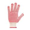 Védőkesztyű, kötött, csúszásgátló pöttyökkel, 7 méret, fehér/piros