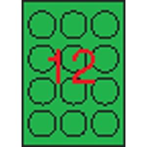 APLI Etikett, 60 mm kör, színes, APLI, neon zöld, 240 etikett/csomag