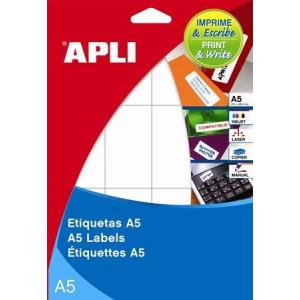 APLI Etikett, 21x74,6 mm, kerekített sarkú, A5 hordozón, APLI, 300 etikett/csomag