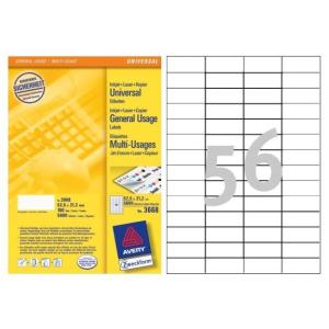 Avery Etikett -3668- 52,5x21,2mm  FEHÉR  AVERY <100 lap/dob>