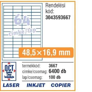 Avery Etikett -3667- 48,5x16,9mm FEHÉR AVERY <100lap/dob>