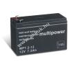 Multipower Ólom akku 12V 7,2Ah (Multipower) típus MP7,2-12 - VDS-minősítéssel (csatlakozó: F1)