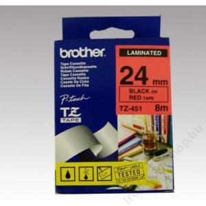 Brother Feliratozógép szalag, 24 mm x 8 m, BROTHER, piros-fekete (QPTTZ451)