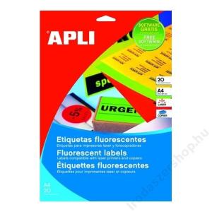 APLI Etikett, 210x297 mm, színes, APLI, neon sárga, 20 etikett/csomag (LCA2878)