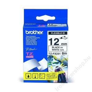 Brother Feliratozógép szalag, flexibilis, 12 mm x 8 m, BROTHER, fehér-fekete (QPTTZFX231)