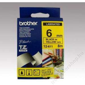 Brother Feliratozógép szalag, 6 mm x 8 m, BROTHER, sárga-fekete (QPTTZ611)