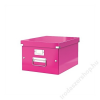 Leitz Irattároló doboz, A4, lakkfényű, LEITZ Click&Store, rózsaszín (E60440023)