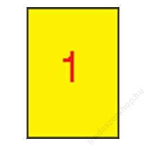 APLI Etikett, 210x297 mm, színes, APLI, sárga, 100 etikett/csomag (LCA11838)