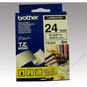 Brother Feliratozógép szalag, 24 mm x 8 m, BROTHER, fehér-fekete (QPTTZ251)