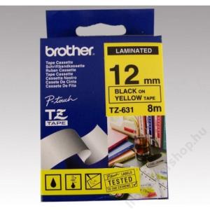 Brother Feliratozógép szalag, 12 mm x 8 m, BROTHER, sárga-fekete (QPTTZ631)