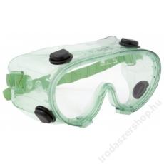 Védőszemüveg, gumipántos, vegyszerálló polikarbonát,  Chimilux (ME811)