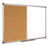 . Kombi tábla, fehér/parafa, 100x200 cm, alumínium keret, felírótábla