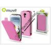 Muvit Samsung i9500 Galaxy S4 flipes tok képernyővédő fóliával - Muvit Slim - pink