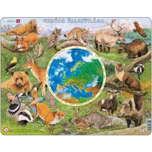 Larsen Larsen maxi puzzle 90 db-os Európa állatvilága (magyar nyelvű) AW1