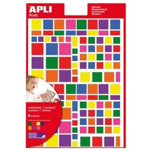 APLI Formaetikett, eltávolítható, vegyes minták, APLI, vegyes színek, 664 etikett/csomag