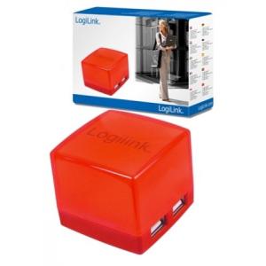 LogiLink Kocka USB2.0 4-Portos HUB, piros
