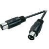 Professzionális DIN csatlakozókábel 5 m, 5 pólusú dugó/dugó, fekete, Speaka 50066
