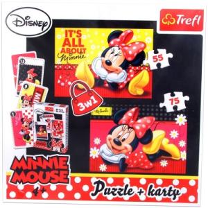 Trefl Minnie egér: 3 az 1-ben puzzle és kártya