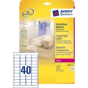 Avery Etikett víztiszta átlátszó 45,7 x 25,4 mm (Avery L7781-25)